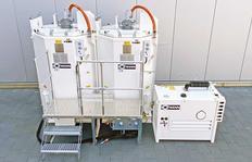 Unité de fondoirs doubles composé de deux ID1100-2 avec brûleur à mazout, avec palier et escalier, station d'énergie de 10kW