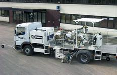 H37-1600P Combi-road marking truck with pressurised containers (3 x 540 l) for cold paints and sprayable 2-component cold plastics using Airless spraying method with path-dependent metering pump (AMAKOS<sup>®</sup>), marker unit on both sides