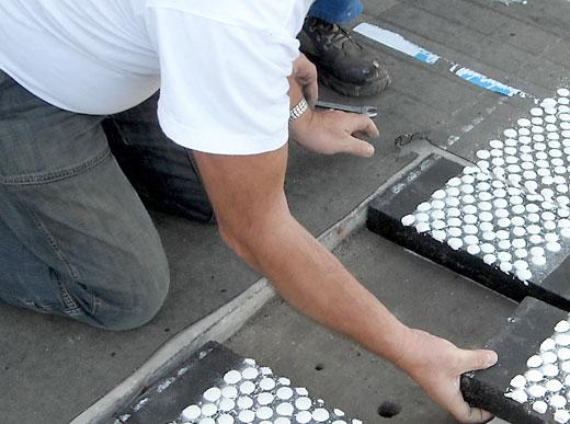 Preparation of road marking patterns for testing system of Federal Highway Research Agency (BASt)