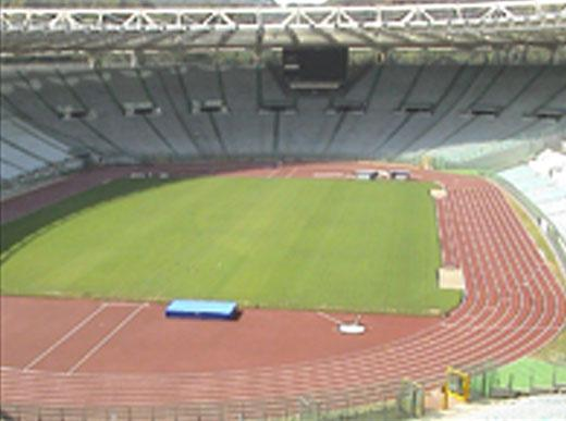 H5-1 with sports facilities equipment marking the running track in the Olympic stadium in Rome