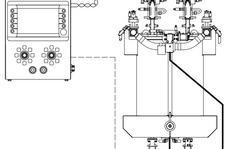 Procédé de dosage (esquisse): Pompe à soufflet pour enduits à chaud pulvérisés avec MALCON4E. Possibilité d'appliquer des lignes triples.
