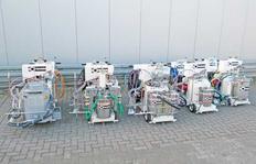 Serie H9-1 (de la izquierda: Equipado para termoplásticos proyectables, Airless 2c 98:2, Airless 2c 1:1, Airless 1c, Airspray)