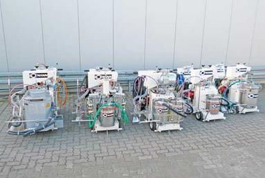 H9-1-Serie (von links: Ausgerüstet für spritzbare Thermoplastik, Airless 2K 98:2, Airless 2K 1:1, Airless 1K, Airspray)