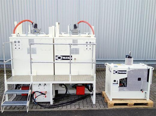 Doppelkocherpaket bestehend aus zwei ID1100-1 mit Dieselölbrenner, mit Podest und Treppe, 10 kW Hydraulikaggregat