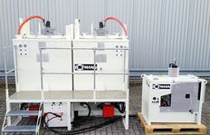 Double preheater unit consisting of two ID1100-1 with diesel oil burner, with platform and stairs, 10 kW power station