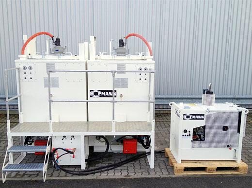 Unidad de caldera doble compuesto de dos ID1100-1 con quemador de gasoil, con estrado y escalera, estación energética de 10kW